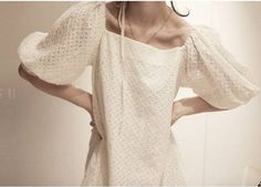 Gorgeous! Balloon Sleeves, White Outfits, Pattern Making, Shoulder Dress, My Style, How To Make, Image, Dresses, Fashion