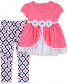 6X New Rare Editions Little Girl Floral Bicycle Kitten Dress Legging Outfit 2T