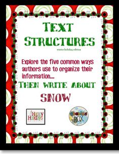 This activity, which addresses both reading and writing standards, reviews the five common text structures that authors use and then gives students a chance to write their own paragraphs demonstrating their knowledge.Scaffolded with signal words, this higher-ordered thinking activity can be used independently, in small groups or with partners.