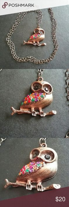 Bronze colorful owl necklace Like new no flaws Hollow back Jewelry Necklaces