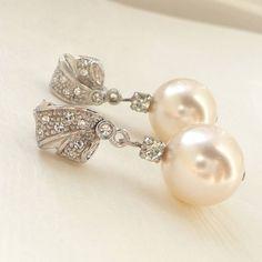 Rhinestone And Pearl Earrings from notonthehighstreet.com #PearlEarrings