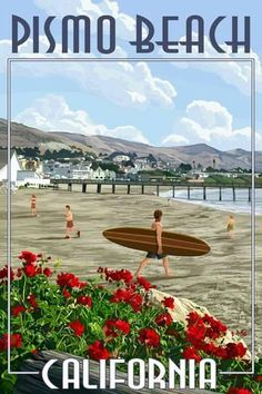 Cayucos California, Pismo Beach California, California Dreamin', Central California, Vintage California, Beach Signs, Vintage Travel Posters, Poster Vintage, Vintage Surf
