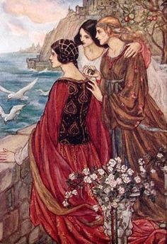 Women of Avalon-Igrane at her husband's castle by the sea   Emma Florence Harrison