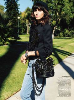 """Tinsel Town"" with Louis Vuitton bag (Vogue US, January 2014)"