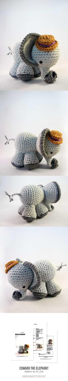 elephant with a top hat - Found at Amigurumipatterns.net