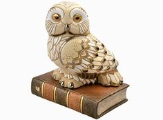 "Owl On the Book Large 10"" Ceramic Sculpture Figurine by Derosa with Gold Trim - Animals"
