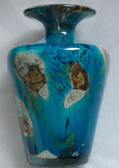 HAMPTON VINTAGE ANTIQUE EMPORIUM DESCRIPTION Mdina Maltese Art Glass TIGER EYE Teal Blue Brown Vase signed DIMENSIONS Height 4 25 CONDITION Excellent