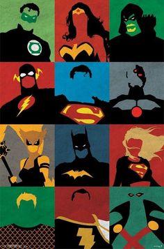 JUSTICE LEAGUE ART POSTER ~ MINIMALIST DECO 22x34 DC Comic Book America Batman
