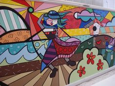 A Romero Britto inspired mural I painted at a day care facility in Springfield, MA. Pop Art, Hallway Displays, Urban Intervention, Toddler Classroom, Graffiti Painting, Art Lessons Elementary, Arte Pop, Teaching Art, Urban Art