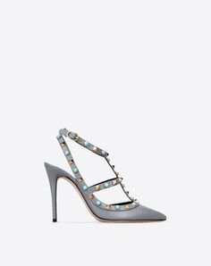 Studs,Textured leather,Solid color,Wrapping straps closure,Leather sole,Narrow toeline,Spike heel,