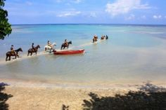 Ochos Rios, Jamaica  riding horses in the sea