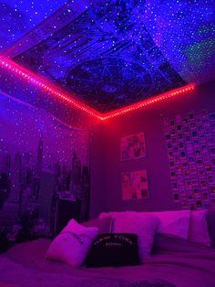 Neon Bedroom, Cute Bedroom Decor, Room Ideas Bedroom, Stylish Bedroom, Small Room Bedroom, Hippie Bedroom Decor, Hippie Bedrooms, Bedroom Inspo, Boho Decor