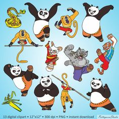 "Buy 2 Get 1 Free! Digital Clipart ""Kung-Fu Panda"" China bear cartoon characters…"