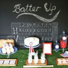 Draw scoreboard on the driveway for guests to see as they arrive! #boysbaseballparty #baseballbirthday