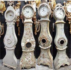 Antique Swedish Mora Clocks in Chippy shabby chic white!