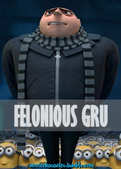 FELONIOUS GRU  Played By: Steve Carell (Voice) Film: Despicable Me / Despicable Me 2 Year: 2010 / 2013 Bad Minion, Minions, Disney Movie Posters, Disney Movies, Despicable Me Gru, Overlays, Las Vegas, Winner Yg, Steve Carell