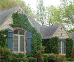 Farmhouse Decorating Ideas | Ivy Clad Cottage Exterior, Built with Old World influence, this is a ...