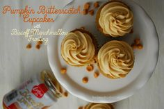 Pumpkin Butterscotch Cupcakes with Biscoff Marshmallow Frosting