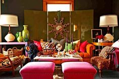 OH SO PRETTY IN HOT PINK accent eclectic living space...rich, deep, inviting, colors...mmmmm....Home.