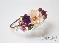 Silk Flower Crown Blush Pink Plum Purple by blueorchidcreations