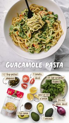 Guacamole Spaghetti - San Remo Risotto Dishes, Pasta Dishes, Healthy Pesto, Healthy Snacks, Pasta Recipes, Dinner Recipes, Cooking Recipes, Savory Rice, Recipe Tonight
