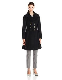 Ivanka Trump Womens Wool Blend Coat Black 4 ** Want to know more, click on the image.