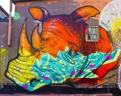 graffito rainbow rhino
