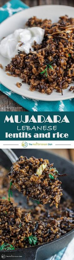 [ Arabic ] Mujadara: Lentils and Rice with Crispy Onions | The Mediterranean Dish. The intense flavor of this humble Middle Eastern dish will surprise you! A healthy and hearty vegan and gluten free option that everyone will love! Pin it now. See the step-by-step with photos at The Mediterranean Dish #Mainmealsforvegetarians