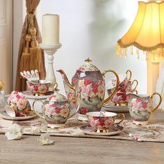 """Vintage Rose"" Bone China Full Tea Set"
