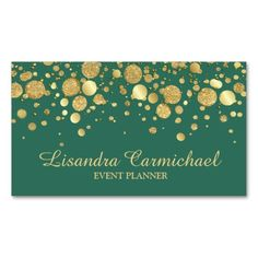 Elegant faux gold glitter and foil print confetti over a deep teal green background. #bizcards