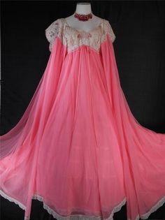 Vintage Lucie Ann for Claire Sandra Beverly Hills Gown Set Peignoir Negligee | eBay