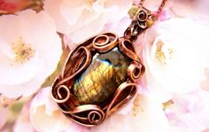 Copper pendant Wire wrapped pendant Gift for her by katerinaslivka