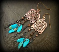 Cowgirl, South West, Fancy Copper Slab, Blue Turquoise, Copper Chain Fringe, Beaded Earrings by YuccaBloom