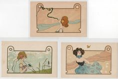 KIRCHNER-Raphael-Nini-Hager-complete-set-of-6-postcards-very-good-condition