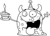 Happy Monster Celebrates Birthday with Cake from Monsters