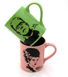 Mr and Mrs Mug Set Frankenstein and Bride Funny por LennyMud