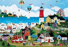 """Jigsaw Puzzles 1000 Pieces """"Milford Lighthouse"""" / Jane Wooster Scott....I've done so many of this brand of puzzle and they are so much fun."""