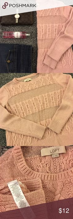 Pale pink sweater for the LOFT Cozy sweater that's girly & versatile! Cozy & warm for this time of year. Pre loved but has a lot of life left. I personally think it looks a little fuzzy/loved or worn but that seems to be the look these days. Not new by any means but super cute just the same. Smoke free home. Bust measures 21 inches laid flat. Hips are 20. Length is 23.5. Sleeve length is 23. Has side slits for easy movement & some of the stripes are a lil' sheer. Great with a tank…