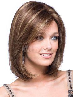 Oro hombro longitud recta sintético fabuloso media peluca para mujer - Milanoo.com