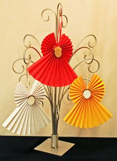 Easy Angel Crafts Accordian Folded Paper Angel Ornament three finished angels on ornament tree