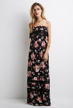 Floral Print Crochet Maxi Dress from FOREVER 21 on Catalog Spree, my personal digital mall.
