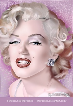 Digital painting of Marilyn Monroe by K. Fairbanks (Media: Photoshop). View additional art by K. Fairbanks: http://graphics.ms11.net/index.html | #Art #MarilynMonroe
