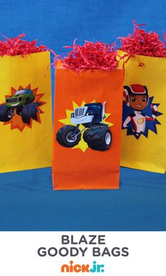 We wheelie love these Blaze and the Monster Machines party goody bags. Print to make, and fill with sweets, prizes, stickers and more!