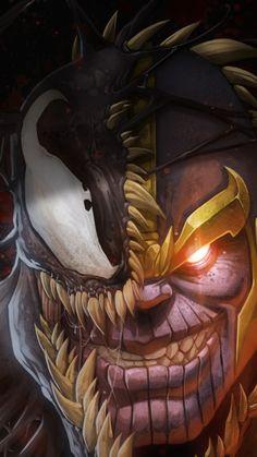 Artwork, marvel, thanos and venom, 720x1280 wallpaper