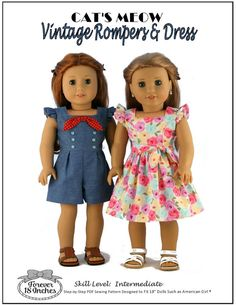 Pixie Faire Forever 18 Inches Cat's Meow Vintage Rompers & Dress Doll Clothes Pattern for 18 inch American Girl Dolls - PDF