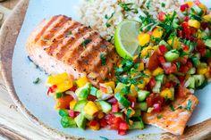 Grilled Lime Salmon   Avo-Mango Salsa CleanFoodCrush