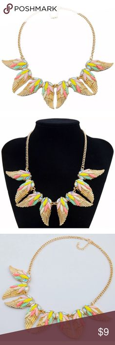 Gorgeous pastel gold wing statement necklace Gorgeous pastel gold wing statement necklace Jewelry Necklaces