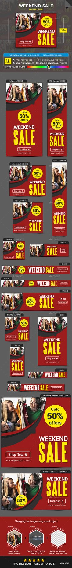 Weekend Sale Banners Design Template - Banners & Ads Web Template PSD. Download here: https://graphicriver.net/item/weekend-sale-banners/17002535?s_rank=36&ref=yinkira