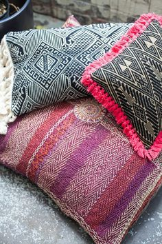 Image of limited edition pillow | laotian woven with hot pink fringe