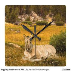 Napping Foal Custom Art Square Wall Clock